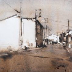 Contrast: Thinking About and Using Urban Landscape, Landscape Art, Landscape Paintings, Watercolor Landscape, Watercolor Paintings, Watercolors, Cityscape Art, Watercolor Painting Techniques, Oeuvre D'art