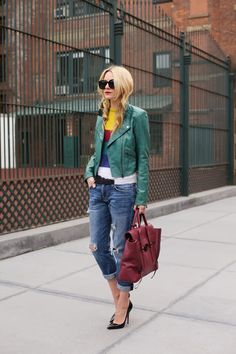 leather moto with boyfriend jeans and stripe sweater
