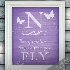 Wings to Fly  Letter Art Print With Butterfly  Baby by livewellink