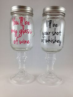 Redneck Hillbilly Wine Glass Set, You'll be my glass of wine, I'll be your shot of whiskey, Bride/Groom Wedding Engagement Gift on Etsy Wine Glass Set, Mason Jar Wine Glass, My Glass, Shot Glass, Rustic Wedding, Our Wedding, Dream Wedding, Perfect Wedding, Wedding Stuff