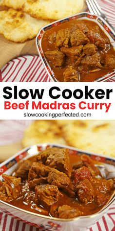 Slow Cooker Beef Madras Curry - Slow Cooking Perfected If you're looking a slow cooker beef madras curry that's packed with flavor and delivers the heat, then look no further. Slow Cooker Beef Curry, Slow Cooker Huhn, Slow Cooked Beef, Beef Madras, Madras Curry, Lamb Madras, Curry Dishes, Beef Dishes, Slow Cooking