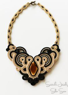 Shades of Beige/ Black Handmade Soutache necklace
