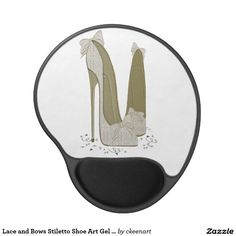 Lace and Bows Stiletto Shoe Art Gel Mousepad