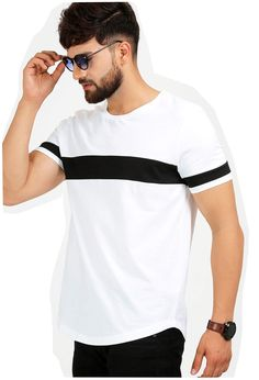 Solid Men Round Neck White T-Shirt - Compare Price Over Top Most Popular Stores Casual T Shirts, Cool T Shirts, Tee Shirts, New T Shirt Design, Shirt Designs, White Casual, Men Casual, T-shirt Broderie, T Shirt Noir
