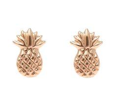 SOLID 14K ROSE GOLD HAWAIIAN PINEAPPLE STUD POST EARRINGS – Arthur's Jewelry
