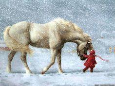 Cheval et enfant sous la neige
