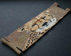 toho seed beads cuff bangle bracelet gold beige by koralikowyraj