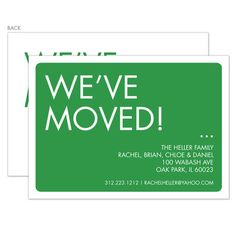 Green We've Moved Moving Announcements