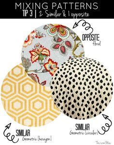How to Mix Prints All About Pattern Play 2019 how to mix patterns mixing patterns tip 1 match colors not prints multi color 2 accent colors This is our Bliss The post How to Mix Prints All About Pattern Play 2019 appeared first on Fabric Diy. Design Textile, Design Floral, Diy Design, Fabric Patterns, Print Patterns, Mixing Patterns Decor, Pattern Mixing Outfits, Mélanger Les Impressions, Fabric Combinations