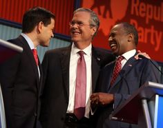 Republican presidential candidates from left, Marco Rubio, Jeb Bush and Ben Carson talk during a bre... - AP Photo/Andrew Harnik