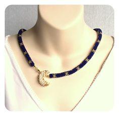 Crescent Moon & Stars Necklace  Blue Bead by BeadworkAndCoe, £72.00