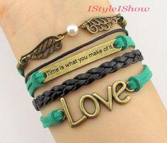 Time is what you make of it,Love bracelet,Wings charm Bracelet-harry potter bracelet-bridesmaid,friendship christmas Gift on Etsy, $6.99