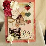 """Beautiful handmade card, made to my own design, is adorned with butterflies and lovely roses and hearts. The card is non specific, just says """"on your special day"""" so can be Mother's Day, birthday etc."""