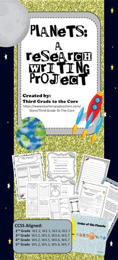 This is a fun and exciting way to get your students writing! They will love having to do their own research to learn about their planet! This unit includes a graphic organizer that will guide them through the research process, a sheet with approved websites for research, a space themed final draft paper, and a trifold brochure template.  This makes a super cute classroom display.