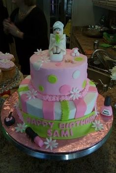 Makeup Themed Birthday Cake Birthday Cakes Pinterest - Spa birthday party cake