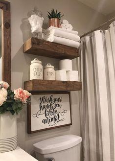 Rustic Bathroom Designs, Rustic Bathroom Decor, Bathroom Interior Design, Bathroom Ideas, Rustic Decor, Bathroom Remodeling, Small Bathroom Decorating, Bathroom Shelf Decor, Bathroom Hacks