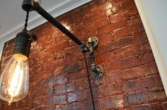 Industrial Pipe Wall Light Edison Bulb Sold by WestNinthVintage Pipe Lighting, Rustic Lighting, Vintage Lighting, Wall Sconce Lighting, Sconces, Lighting Design, Lampe Industrial, Industrial Wall Lights, Rustic Industrial
