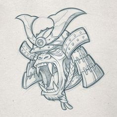 Samurai Gorilla pencils // Client WIP —— #samurai #sketch #pencils #gorilla #design #patch #moralpatch #art #absorb81