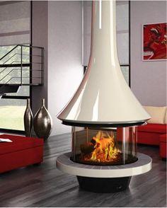 フードタイプ暖炉「エバ 992 センターモデル ガラス付き」