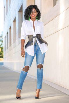 Style Pantry | Boyfriend Shirt + Peplum Belt + Ripped Levi's