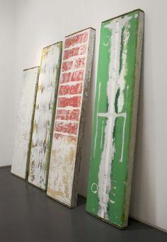 Thomas Øvlisen, installation at Klaus von Nichtssagend,  autolacquer and enamel on fiberglass and polystyrene foam, each   96.5 x 23.5 x 4 inches