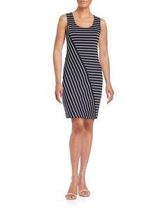 Guess Striped Sheath Dress Women's Navy/White 0