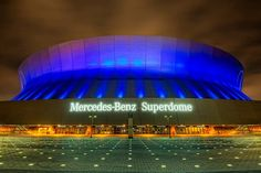 Mercedes-Benz Superdome.  It is home to the NFL's New Orleans Saints, but this year also is going to be the host of the Super Bowl XLVII.  A gorgeous structure created by the architects Curtis and Davis Associated - Edward B. Silverstein & Associates - Nolan, Norman & Nolan, and purchased in 2011 by Mercedes-Benz.