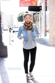 black leggings, jean jacket, sneakers, basic top, patterned scarf