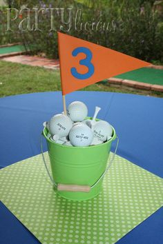 Golf centerpieces - These would make great table numbers for some of our events at work