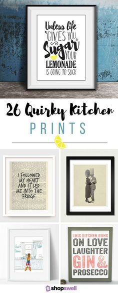 Dress up your walls with pieces from this quirky kitchen art and decor collection.