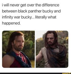 I will never get over the difference between black panther bucky and infinity war bucky. Shuri Black Panther, Black Panther Marvel, Black Panther Quotes, Avengers Memes, Marvel Memes, Netflix Horror, Bucky Barnes Captain America, Winter Soldier Bucky, Marvel Characters