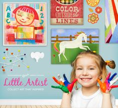 Encourage your Little Artist to learn and have fun with engaging Wall Art for Kids!