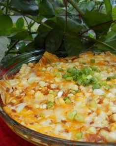 Easy Mexican Casserole .. lots of mexican recipes  4-6 cups corn tortilla chips (preferably stale), broken up a bit but not crushed into crumbs 5-6 eggs 1 4 ounce can green chiles 2-3 cups cheddar and/or Monterey Jack cheese, grated 1 1/2 to 2 cups enchilada sauce 1 cup corn 1/2 cup scallion, finely chopped (white and green parts