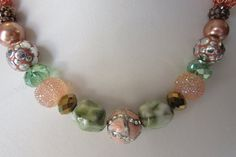 peaches and greens Jesse James statement bead necklace