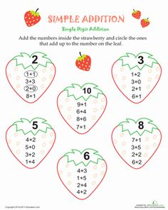 First Grade Addition Worksheets: Simple Addition Strawberries Addition Worksheets, 1st Grade Worksheets, Art Stuff For Kids, First Grade Addition, Mickey Drawing, Simple Addition, School Themes, Strawberry, Education
