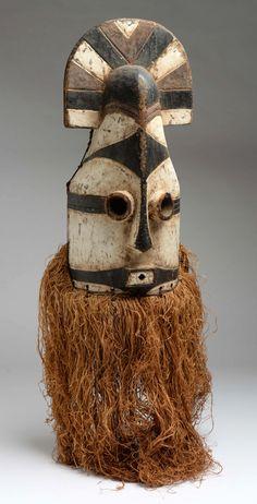 "Africa | ""Bwadi"" helmet mask from the Tétéla Sungu people of DR Congo | Wood…"