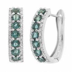 Zales Lab-Created Emerald Huggie Hoop Earrings in Sterling Silver Sku3wW