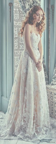 sareh nouri spring 2018 bridal strapless sweetheart neckline full embellishment ivory color romantic modified a  line wedding dress chapel train (chelsea) mv  -- Sareh Nouri Spring 2018 Wedding Dresses