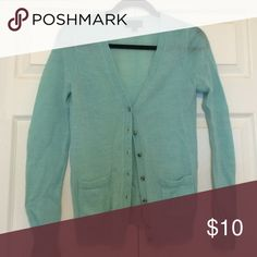Cardigan Aqua cardigan from j crew. Jewel buttons. Very soft and barely worn. J. Crew Sweaters Cardigans