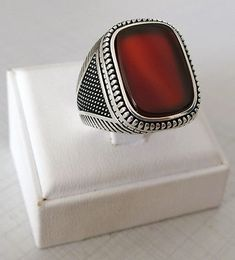 Handmade Turkish Natural Brown Agate Stone 925 Sterling Silver Men's Ring #925