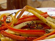 Roasted Carrots and Parsnips with Thyme Roasted Carrots And Parsnips, Vegetable Side Dishes, Vegetable Recipes, Food Network Recipes, Cooking Recipes, Snack Recipes, Thyme Recipes, Root Veggies, Ina Garten