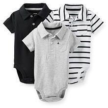Carter's Boys 3 Pack Black/Grey/Striped Short Sleeve Polo Bodysuits