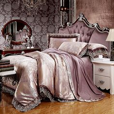 Classic Jacquard Satin Bedding Sets Queen/King Size Lace Embroidery Bedclothes Cotton Bed linen Duvet Cover Home Textile Bed Sets, Bed Sheet Sets, Luxury Bedding Collections, Luxury Bedding Sets, Camas King Size, Champagne Bedroom, Cama Queen Size, Queen Size Beds, King Size Bedding Sets