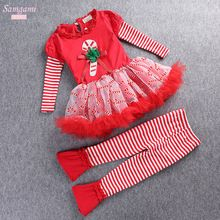 Girls Santa Claus Outwear Cotton Shirt Dress+Leggings Red Color 2pcs Kids Christmas Costume Children Clothing Sets Ropa De Ninas(China (Mainland))