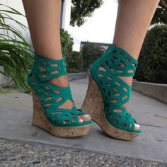 Seagreen Faux Suede Perforated Cork Wedges