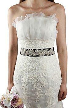 Lemandy Handmade Crystal Decoration Dresses Sash For Wedding Bride Prom Black