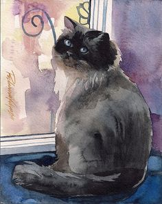 Giclee Print of Watercolor Painting Cat by creativeartistic