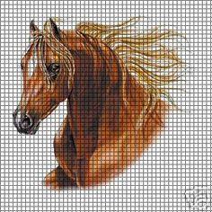 Brown Horse Crochet Pattern Cross Stitch Horse, Cross Stitch Animals, Counted Cross Stitch Patterns, Filet Crochet Name Pattern, Afghan Crochet Patterns, C2c Crochet Blanket, Tapestry Crochet, Swedish Weaving Patterns, Crochet Horse