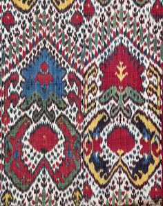 "Ikat Hanging (Uzbekistan) 82"" X 45"" 1st quarter 19th century; Silk Ikat Warp; Cotton Weft; Warp Faced Plain Weave. Collection of Guido Goldman / Photo by Don Tuttle; courtesy of Guido Goldman Collection"