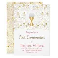 First Communion catholic girl angels decor Invitation   Zazzle.com